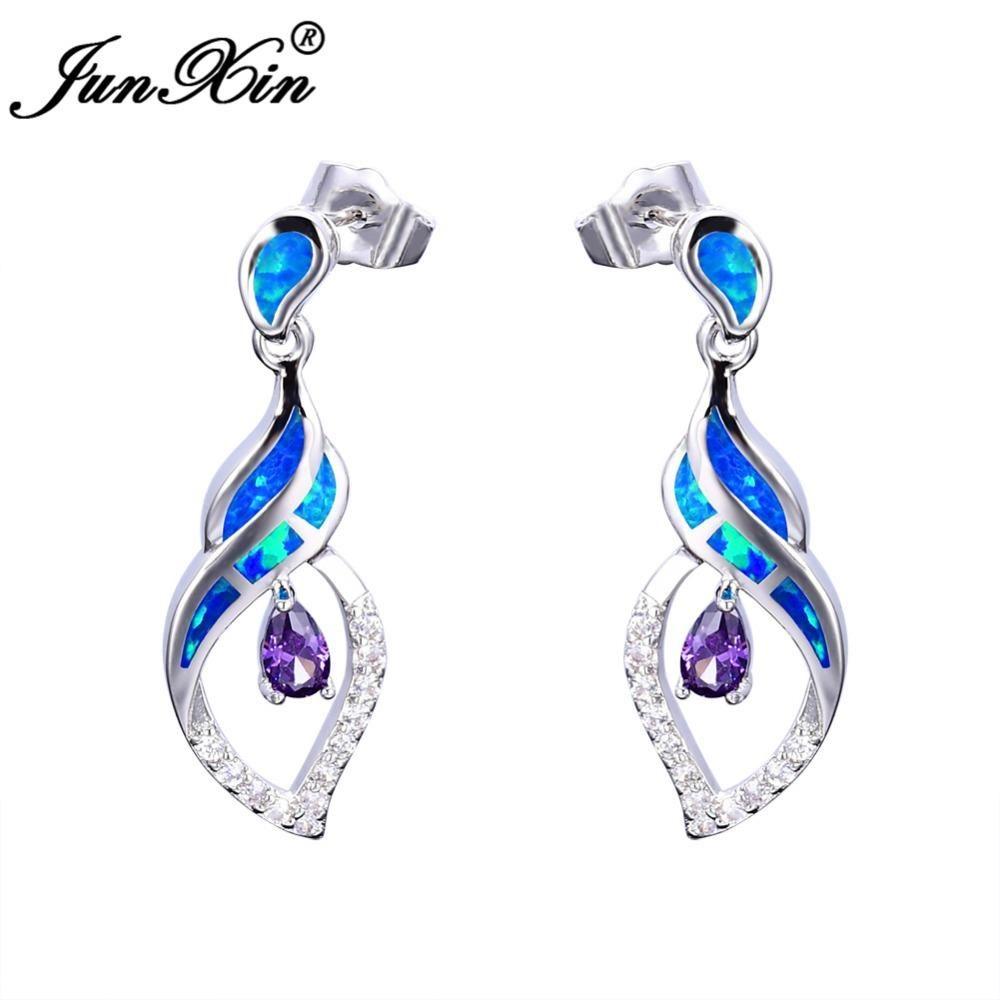 525077c7df0 JUNXIN 2017 New Fashion Women Water Drop Purple Earrings Blue Opal Earrings  925 Sterling Silver Filled Dangle Earrings For Women