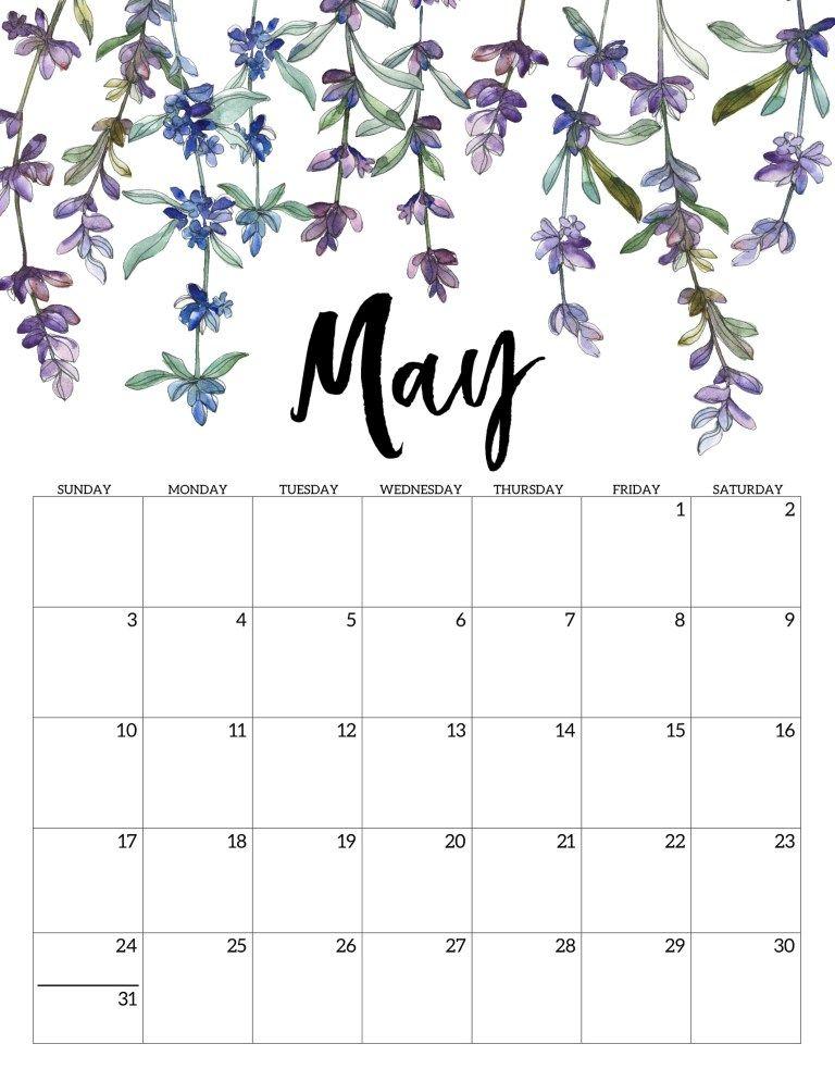 May Printable Calendar 2020.2020 Free Printable Calendar Floral Print Calendar Free