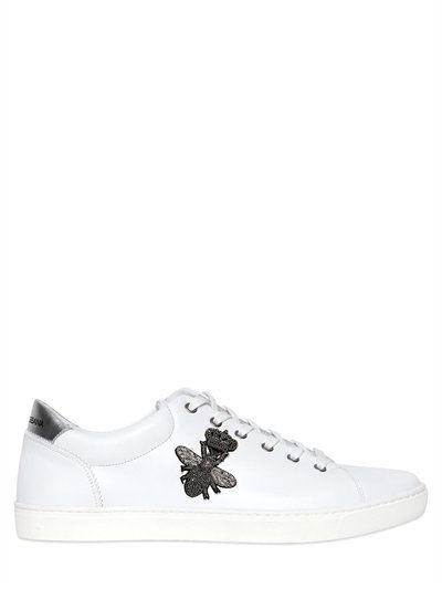 c4ea5fe0c936 DOLCE   GABBANA BEE EMBROIDERED LEATHER LONDON SNEAKERS