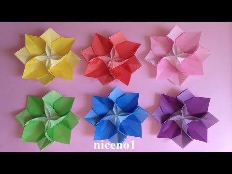 折り紙 花 1枚の折り方2 Origami Flower Tutorial Niceno1 Youtube 折り紙 花 折り紙 立体 折り方 折り紙 花 折り方