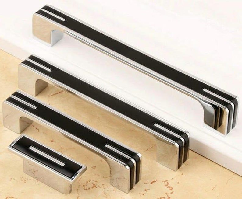 1.25 3.75 5 6.3 8.8 12.5 Silver Black White Kitchen Cabinet Door Handles Dresser Pull Drawer Handle Pulls Chrome 96 128 160 224 320 mm