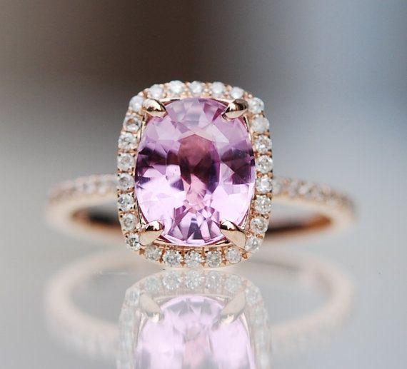 Purple sapphire ring rose gold diamond ring by EidelPrecious