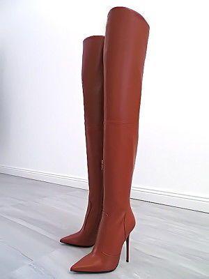 leder lange overknee stiefel braun italy damen t89 boots. Black Bedroom Furniture Sets. Home Design Ideas