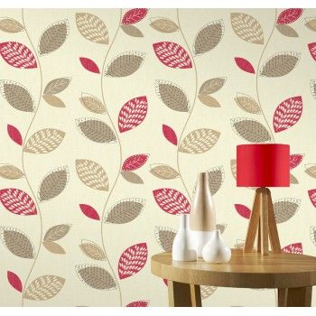 Bali rio leaf trail cream red wallpaper by whitewell interiors 201076