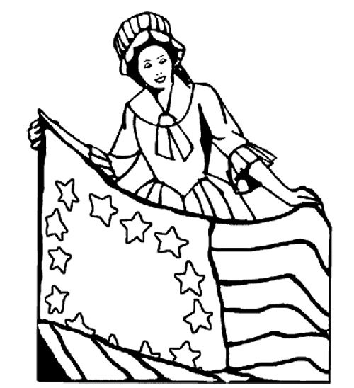 Betsy ross printable coloring pages ~ Betsy Ross Holding The American Flag Coloring Page ...