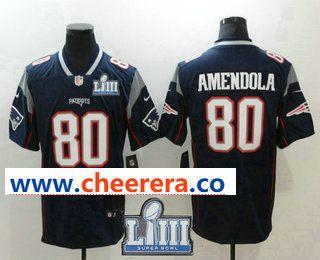 Men s New England Patriots  80 Danny Amendola Navy Blue 2019 Super Bowl  LIII Patch Vapor Untouchable Stitched NFL Nike Limited Jersey b02793620