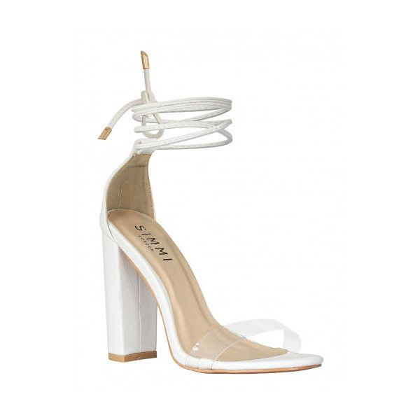 337d1540a2d8 Harley White Transparent Lace Up Block Heels   Simmi Shoes (€7