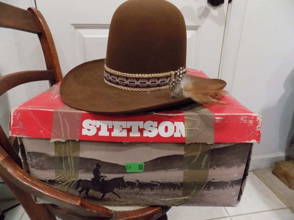 4aeed2e13b4 Vintage Stetson 4X Beaver Cowboy Hat Size 7 1 8 in Original Box ...