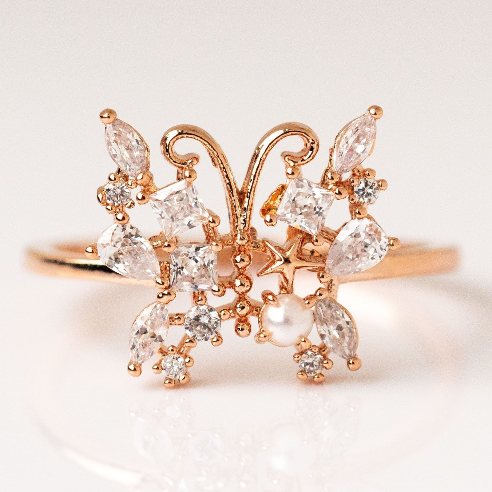 local eclectic Enchanted Butterfly Ring in Rose Gold