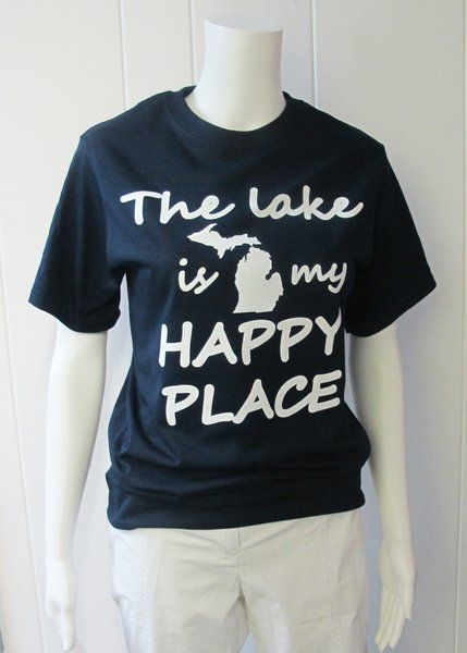 The Lake is my Happy Place Tee | Is the lake your happy place?  Then you need this tee!  50% Cotton/50% Polyester.  Available in Navy.  Sizes S-XL. | Willy & Babbish Boutique | New Baltimore, MI