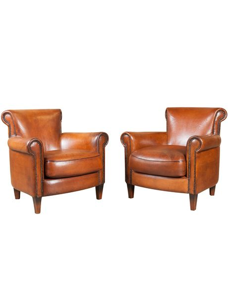 Pair Of French Art Deco Leather Club Chairs thehighboy.com