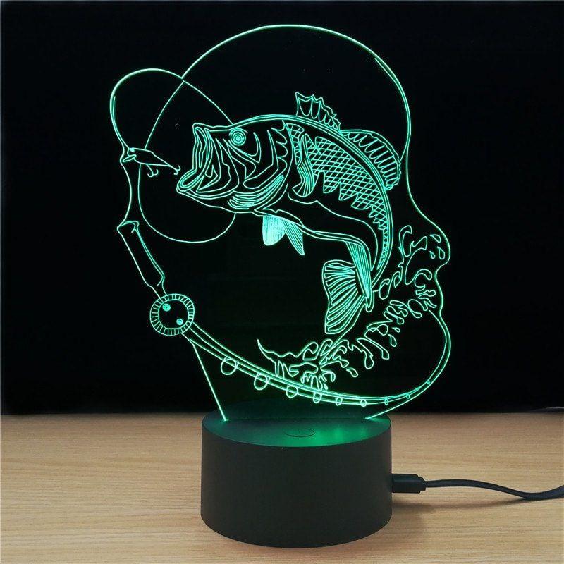 Bass Shape 3d Td322 Lamp Colorful Creative sparkling Fish Led M 1KJclF