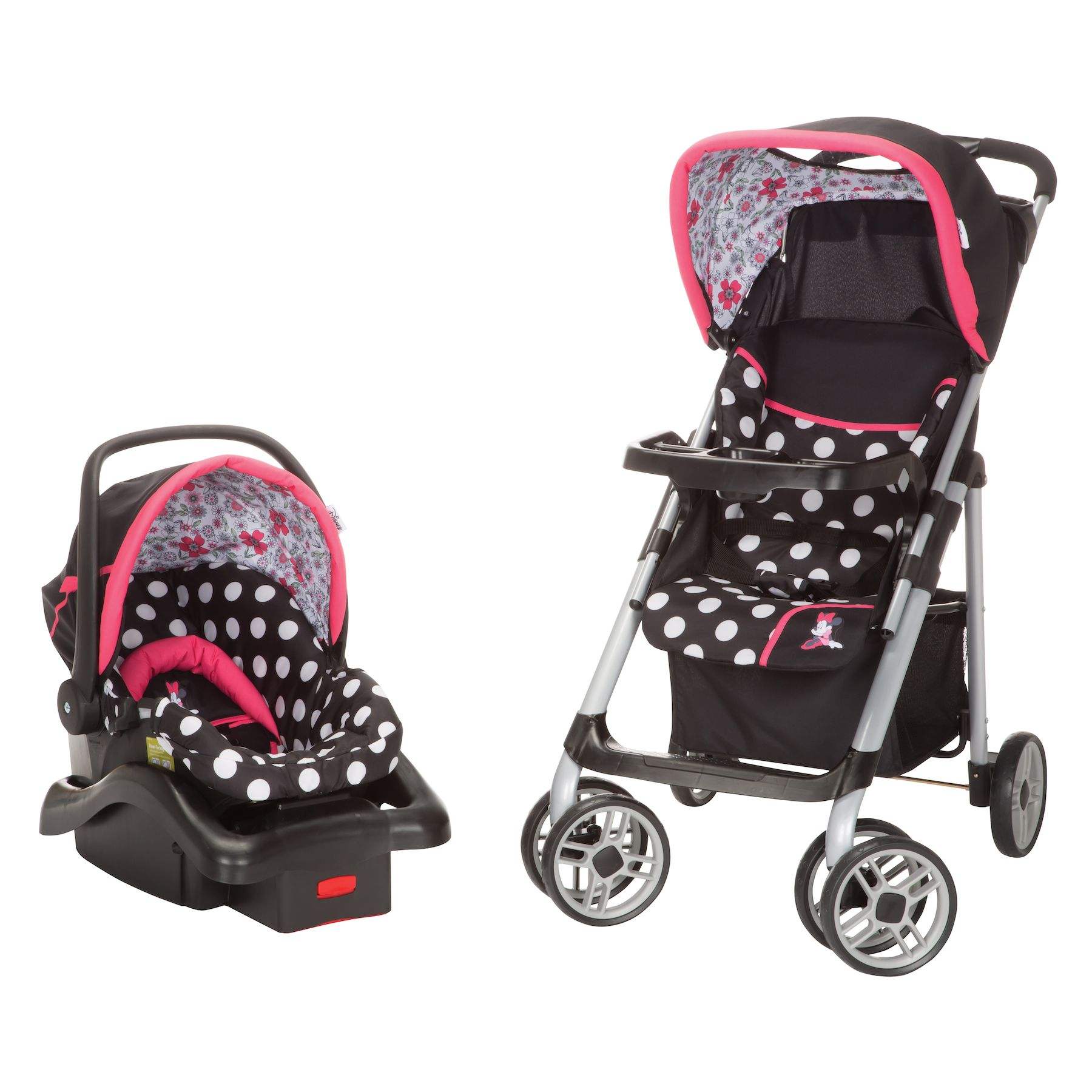 Keep fashion strollin along This black and pink Minnie