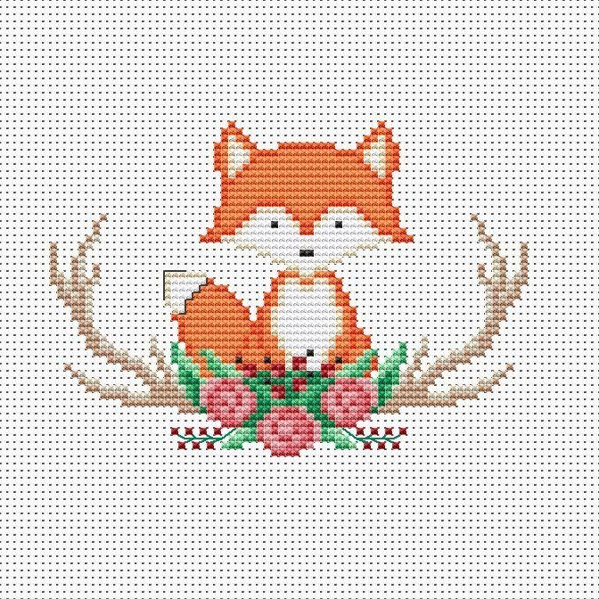 Photo of Fox Cross Stitch Pattern pdf – Baby Animal Hand Embroidery Design – Woodland Nursery Needle …