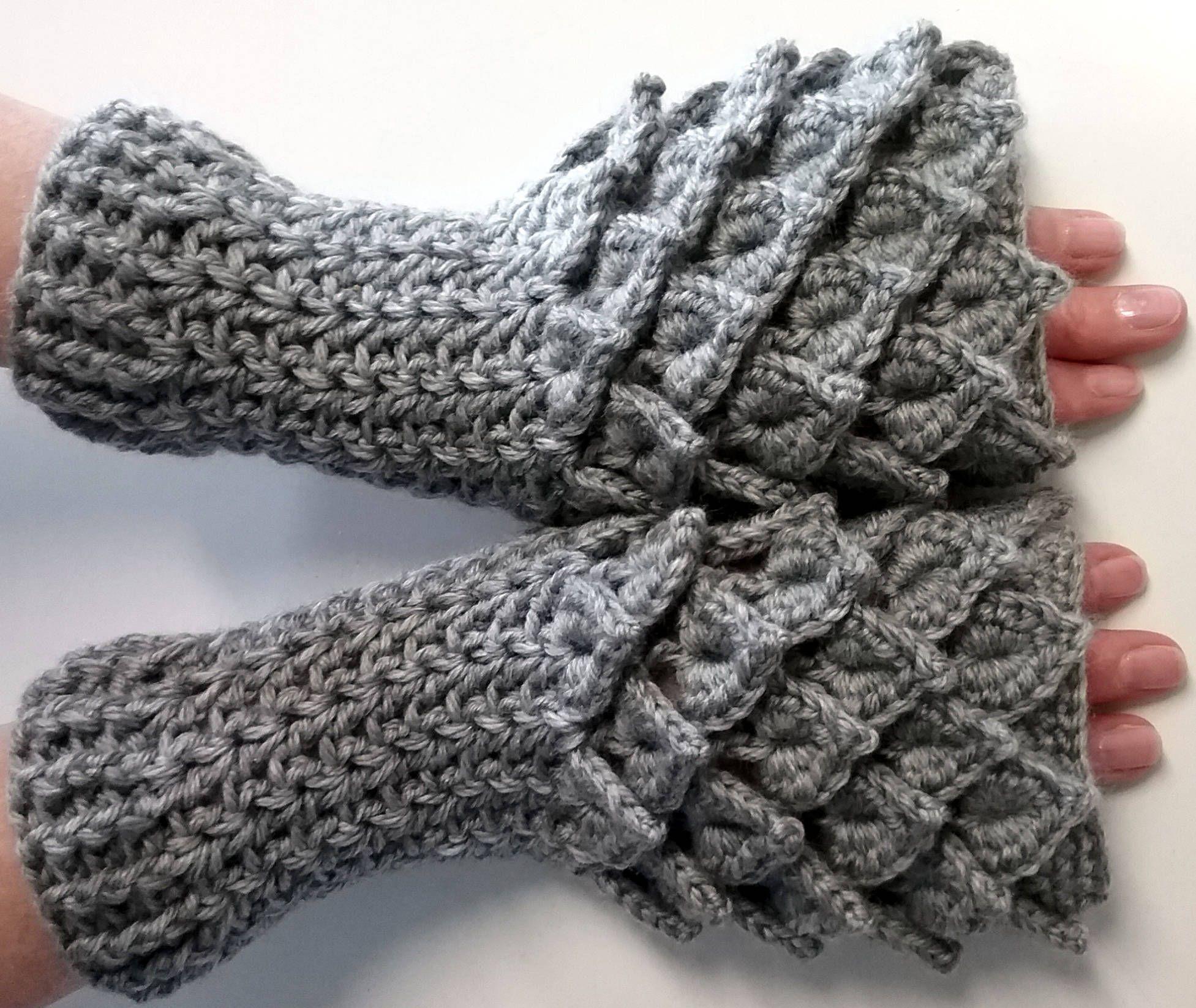 Gray Crochet Dragon Gloves, Fingerless Gloves, Mermaid Gloves ...