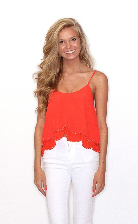 Riffraff | beaded scallop crop tank - red
