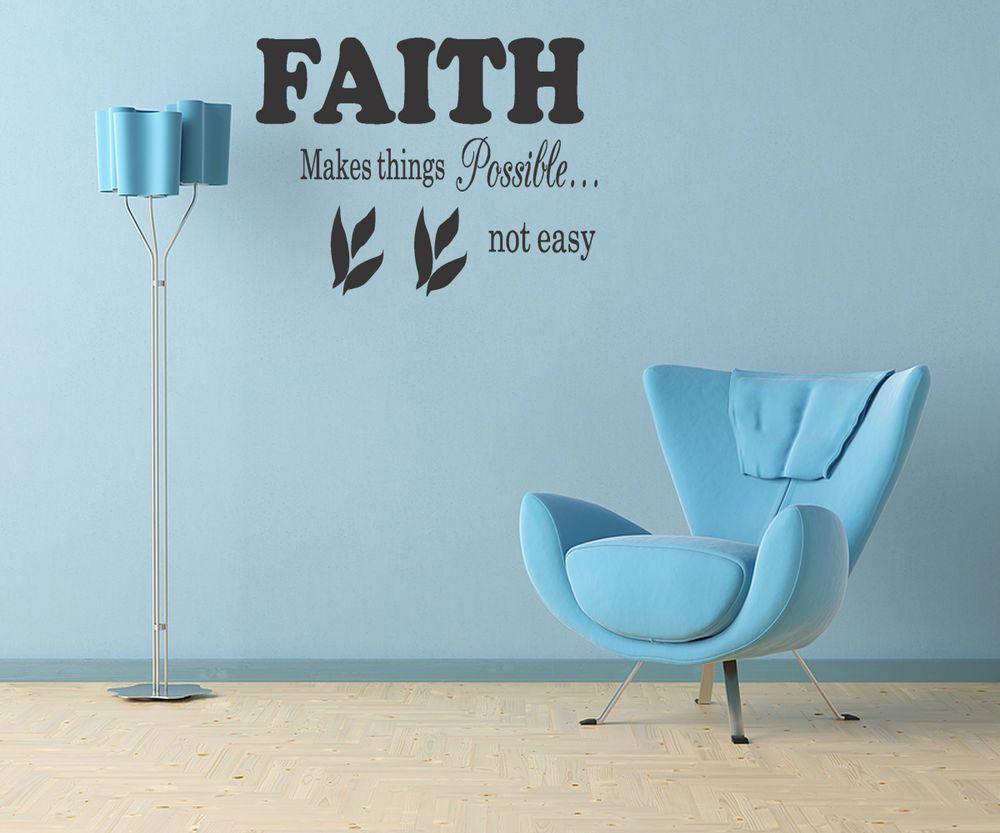 FAITH WALL STICKER QUOTE ART DECAL Lounge Bedroom Living Room - Custom vinyl stickers leeds