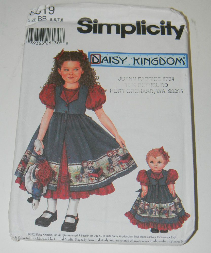 01260f78a Simplicity DAISY KINGDOM 5819 Pattern Doll Clothes Matching 18