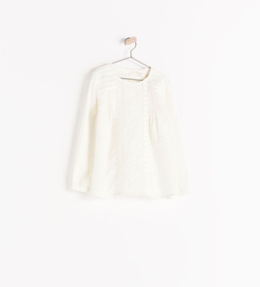 Zara Kids Long Embroidered Blouse Jillian Vestidos