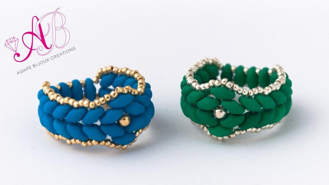 DIY Tutorial Anello Atene - anello con Superduo Neon e Rocailles