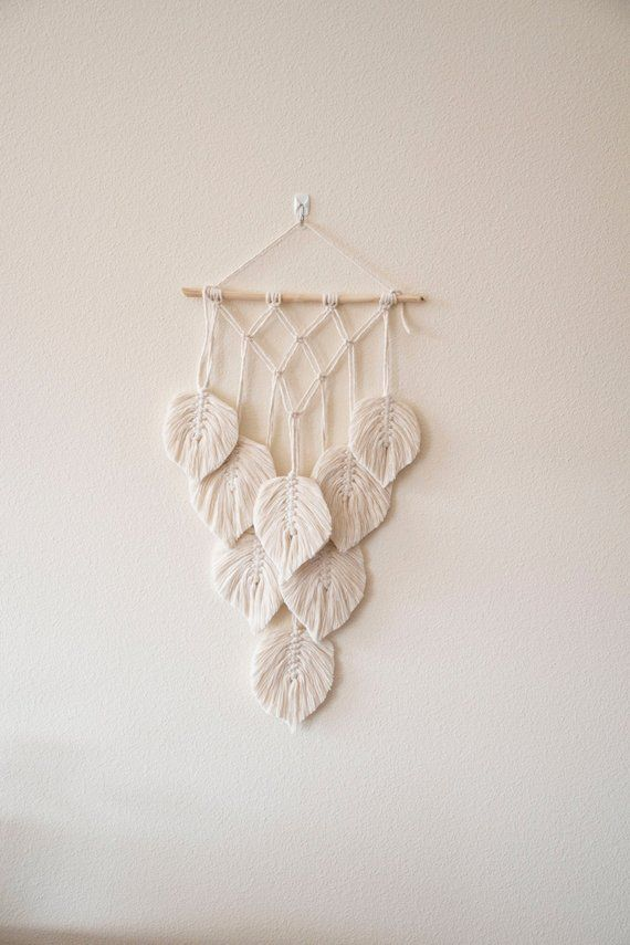 Macrame wall hanging leaf decor, gift for a friend, bedroom decor, housewarming decor, living room wall decor, rustic wall decor, wall texti #birdfabric