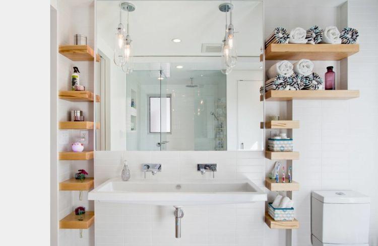 Badezimmer Regale aus Massivholz Stauraum für Handtücher ...
