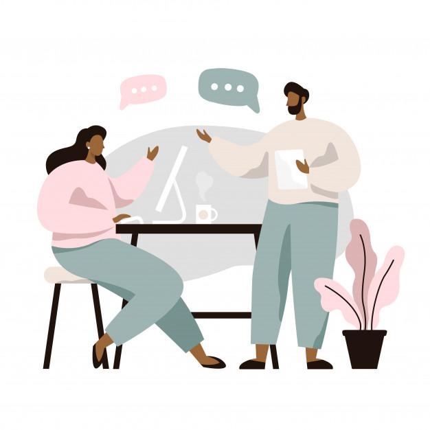 Man And Woman Sitting At Table And Discussing Ideas Exchanging Information Solving Problems Brainstorm Or Discussion Teamwork Ilustrasi Lucu Ilustrasi Ilustrasi Karakter