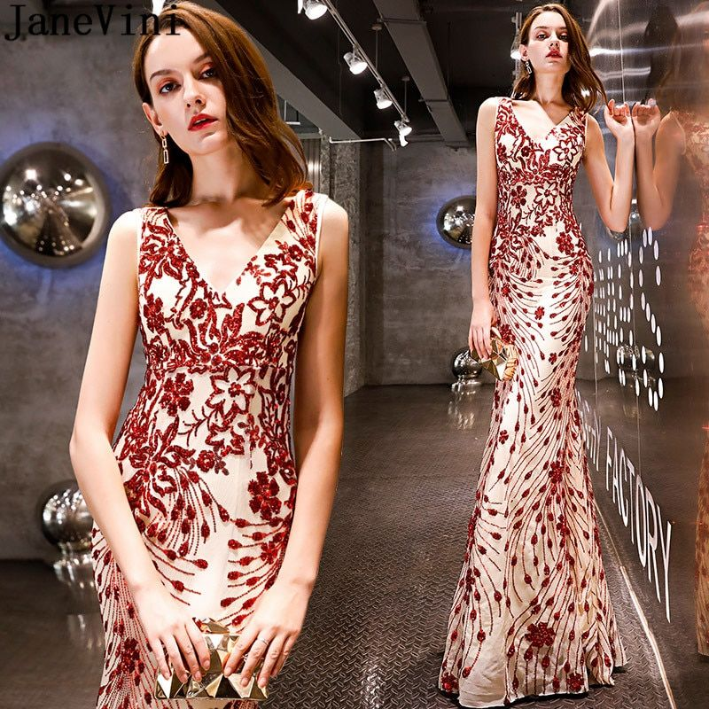JaneVini Sexy Mermaid Sequined Prom Dress for Wedding Party Shiny Dark Red  Tight Formal Dresses Bridesmaids Long Robe Demoiselle e983dfb36d3f
