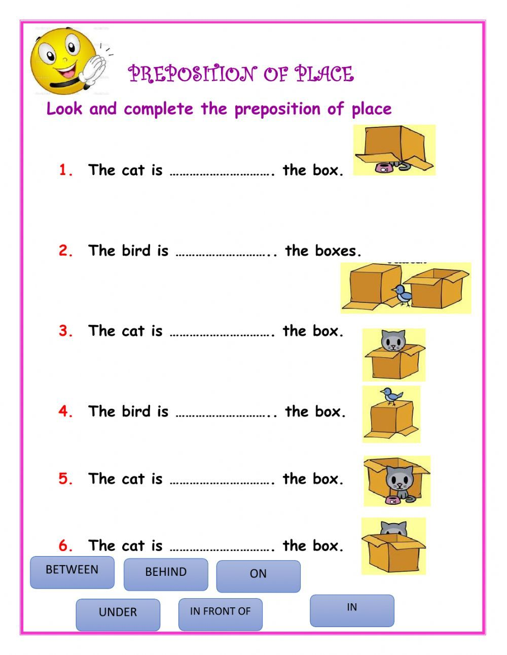 small resolution of Preposition of place - Interactive worksheet   English lessons for kids