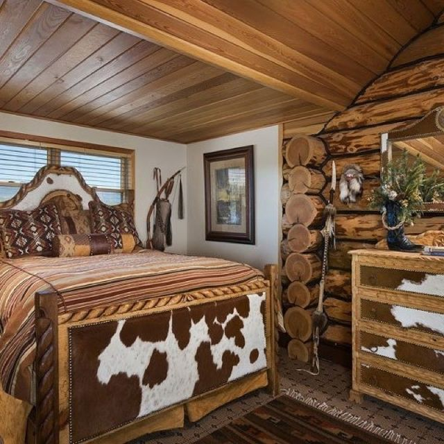 Western Inspired Room Love The Headboard With Old Doors: Love The Cowhide Bed Frame And Dresser.