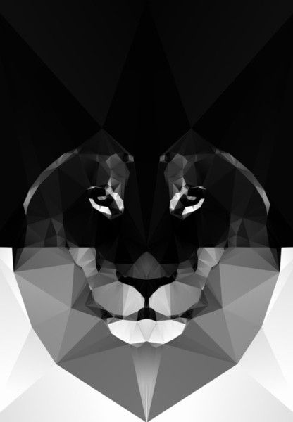 Beautiful Geometric Lion That Makes An Impact Perfect For Achromatic Interior