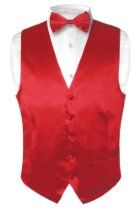 Biagio Men's Solid ROSE RED SILK Dress Vest Bow Tie Set for Suit or Tuxedo