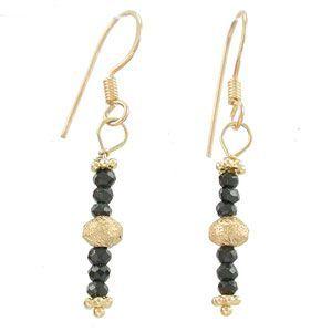 Black Spinel Gemstone and Gold Vermeil Dangle Earrings, #7818