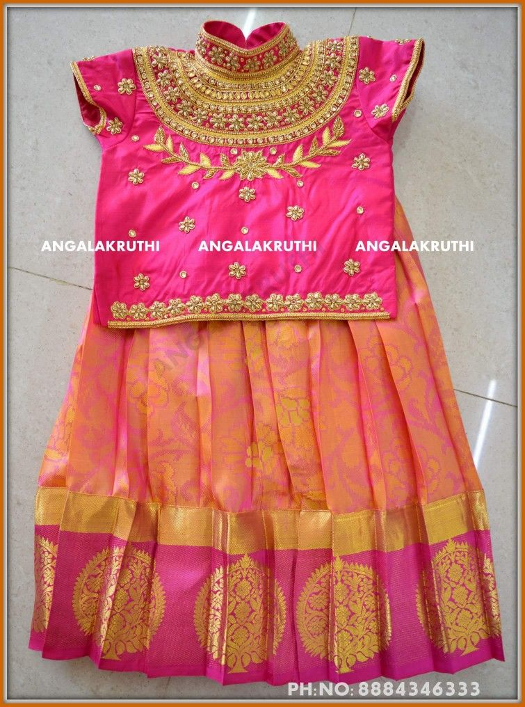 1deb05e10672f0 Kids pattu Pavada designs by Angalakruthi boutique Bangalore Kids pavada  with Rich hand embroidery designs by Angalakruthi Pattu langa desings by ...