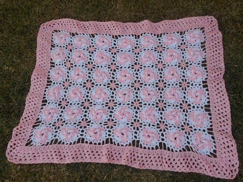 Aprende como tejer a Crochet Mariposas flores rosas 3D en una tira ...
