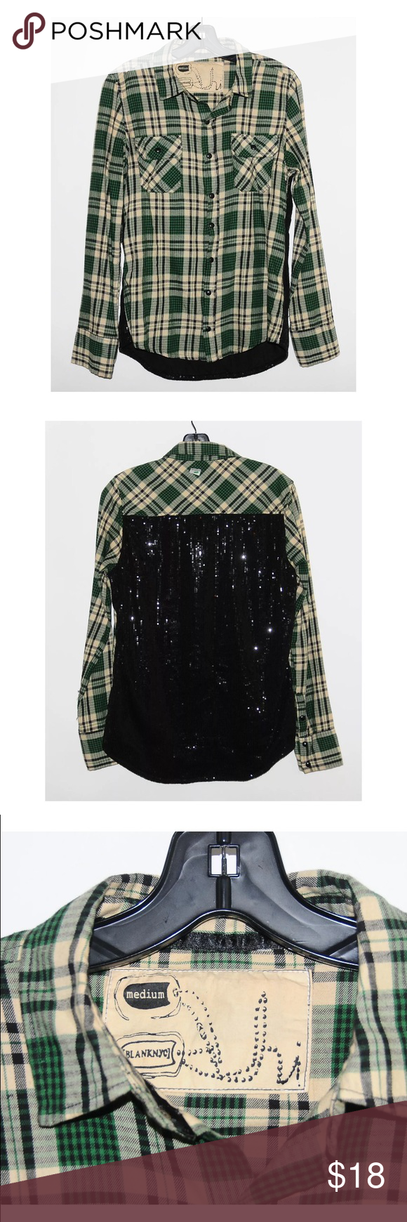 Blank NYC Green Plaid Black Sequin Blouse - Size M WHAT'S FOR SALE:Up for sale is a 100% authentic Blank NYC Blouse  SIZE:US Women's Size M Length - 28 inches Shoulder to Shoulder - 15.5 inches Armpit to Armpit - 19 inches  COLOR: Multi Green/Black  CONDITION:Pre-owned and in good condition - no major flaws!  MATERIALS: 75% Cotton, 25% Polyester (DC box 1) Blank Denim Tops Button Down Shirts