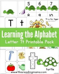 Learning the Alphabet- FREE Letter T Printable Pack - This Reading Mama