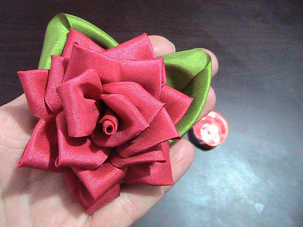 Kurdeleden Gül Yapımı (Ribbon Rose)