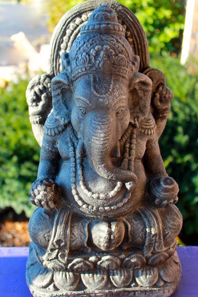 Lotus Ganesh Garden Statue Caste Stone Elephant Sculpture 400 x 300