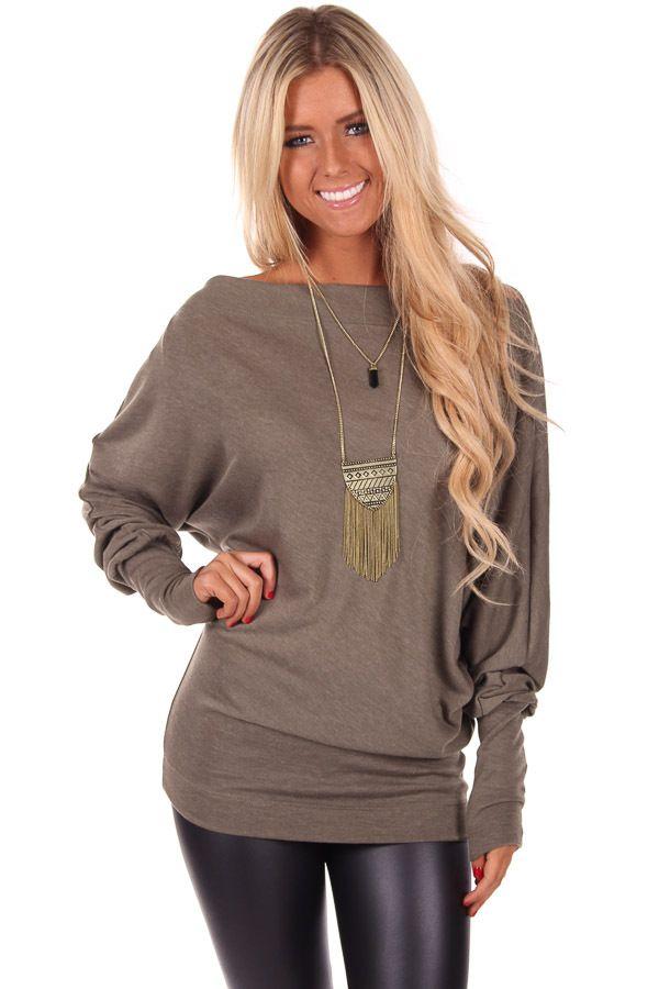 e093d8cddc060b Lime Lush Boutique - Olive Off Shoulder Dolman Sleeve Sweater Dress