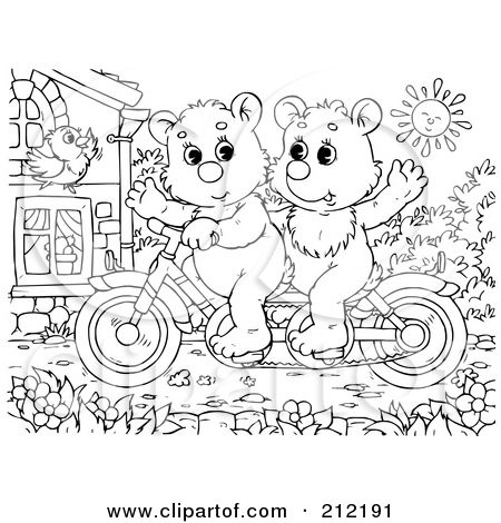 Coca-Cola Bear Coloring Page | Bear Riding Bicycle | Coloring ...
