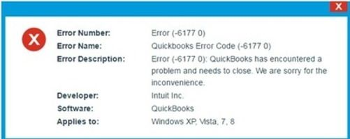 QuickBooks Error 6177 shows a pop-up message when you are trying to