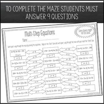 Solving Multi Step Equations Maze Worksheet Equation Equation