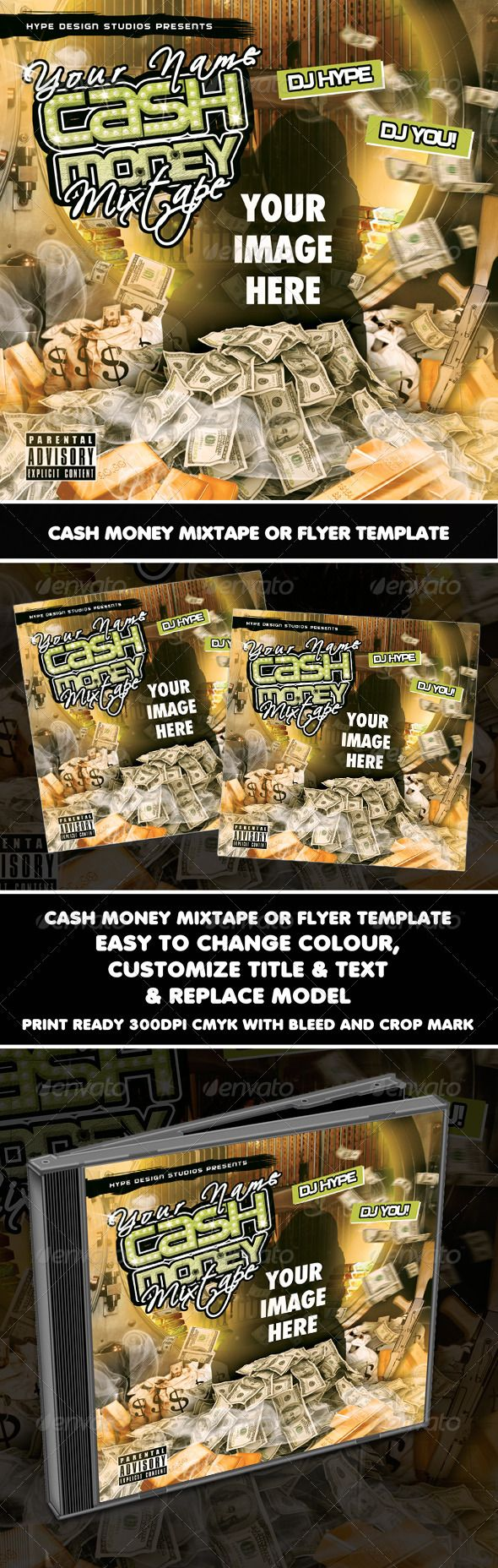 Cash Money Mixtape Or Flyer Template Pinterest Cash Money Flyer - Money flyer template