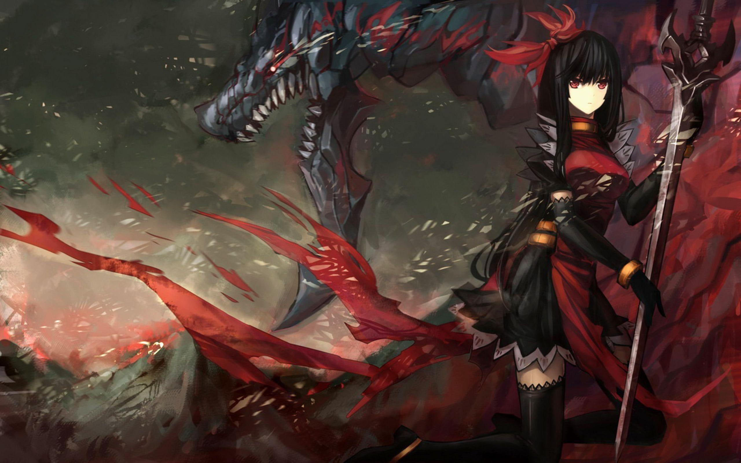 Anime Woman Warrior Sword Dragon Anime Warrior Warriors