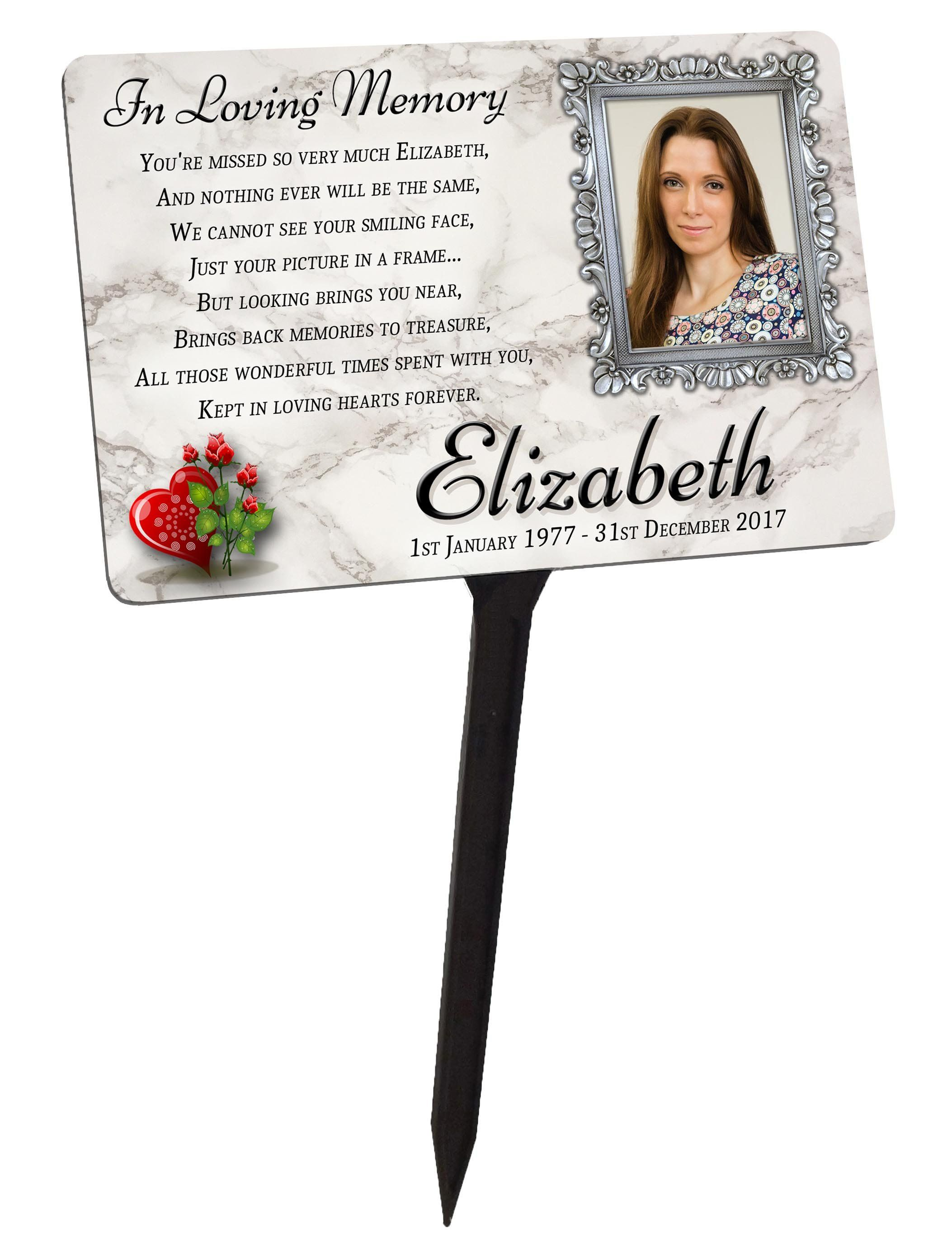Your Photo Personalised Memorial Plaque Stake For Friend Family Garden Grave By Artandplax Memorial Plaque Personalized Memorial Stones Photo Personalized