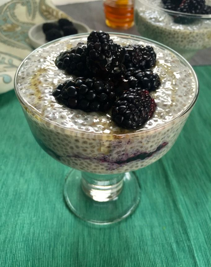 Overnight Vanilla Blackberry Chia Pudding makes the perfect breakfast, addition to smoothies or a snack.The chia seeds are mixed with mashed blackberries, unsweetened vanilla almond milk and honey and topped with fresh blackberries. // A Cedar Spoon #sponsored