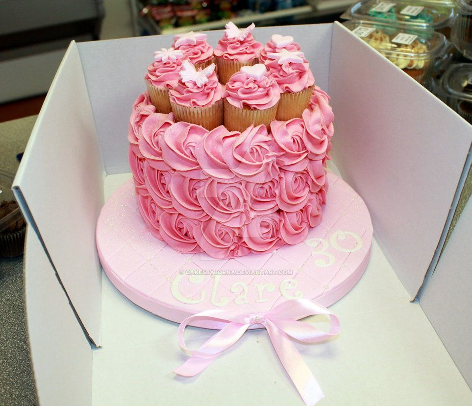 Miraculous Ladies 30Th Birthday Cake With Pink Buttercream Roses Amp Mini Personalised Birthday Cards Bromeletsinfo