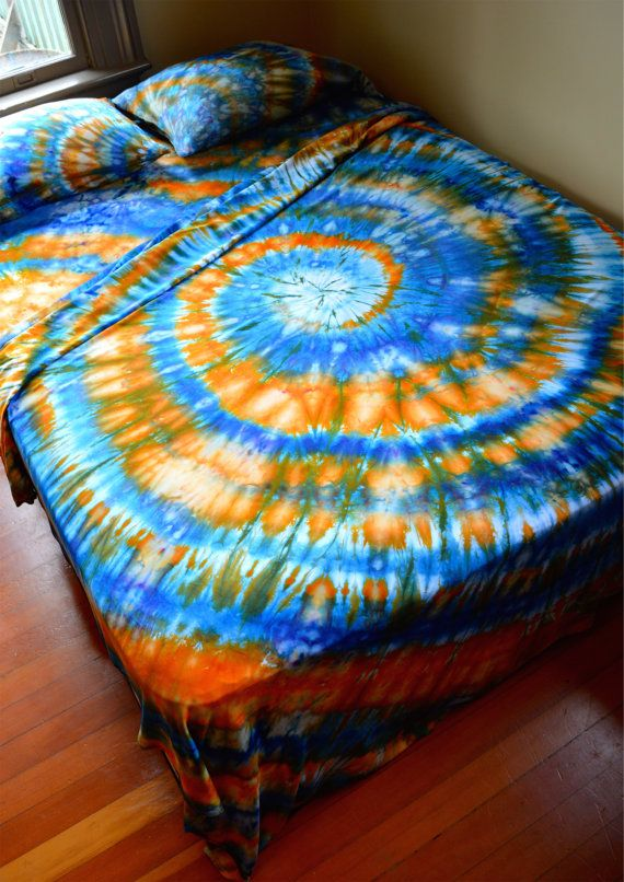 Hand Dyed Queen Sheet Set Tie Dye Psychedelic By