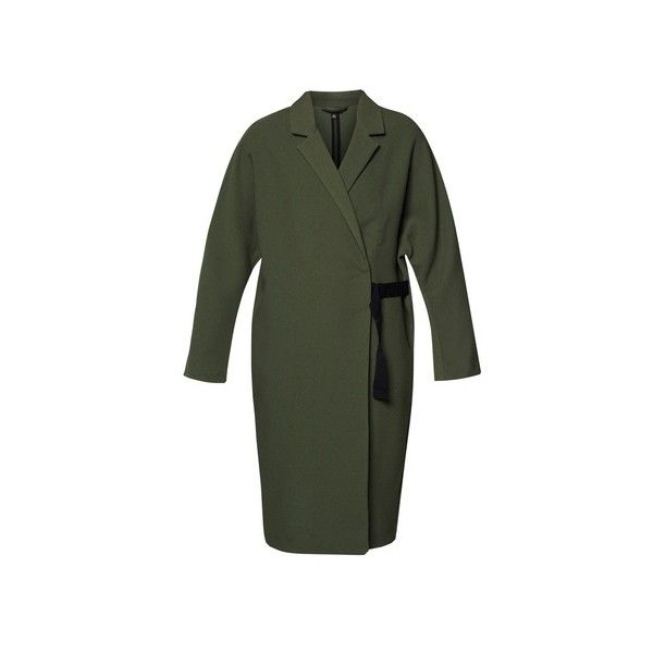 TOPSHOP Long Belted Duster (655 CNY) ❤ liked on Polyvore featuring outerwear, coats, long green coat, long belted coat, long coat, topshop and belted coat